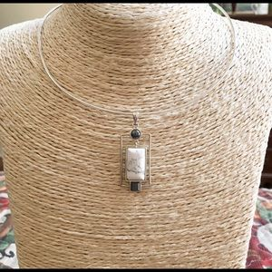 NWT BARSE Sterling Howlite Pendant Necklace Collar